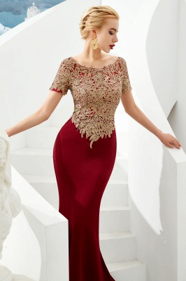 Hilary | Custom Made Short sleeves Burgundy Mermaid Prom Dress with Gold Lace Appliques_4