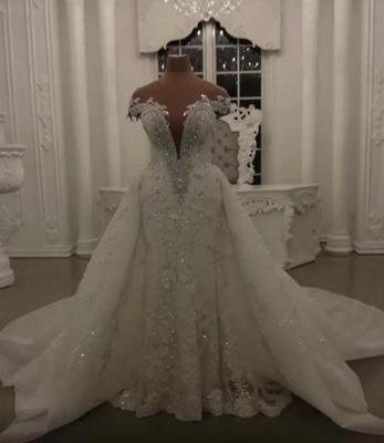 Glamorous Crystal Lace Off The épaule col en V perles robes de mariée avec jupe détachable | Robes de mariée dos nu sans manches pas chères_1