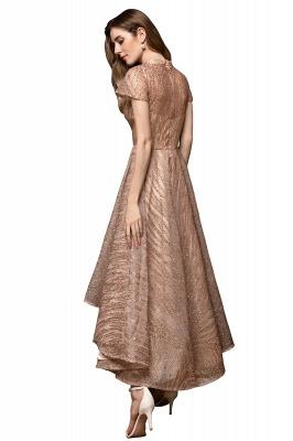 Ardolf | High neck Short Sleeve Champange Sequined High Low Prom Dress_12