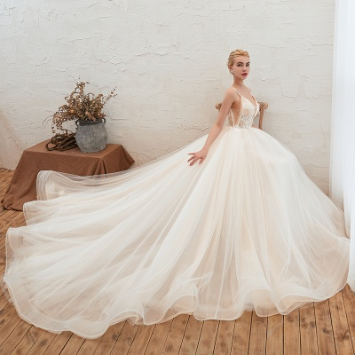 Boho Spaghetti Straps Ivory Ball Gown Wedding Dress | Romantic Bridal Gowns for Sale_8