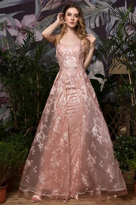 Ardolph | Gorgeous Dusty Pink Spaghetti Strap A-line Lace Prom Dress_5