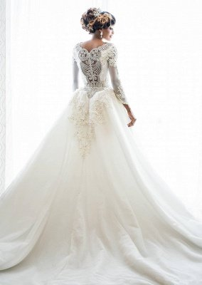 Mermaid Wedding Dresses with Trendy Overskirt | Beads Lace Appliques Long Sleeve Bridal Gowns_2