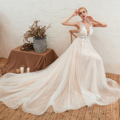 Illsuion neck Champange Wedding Dress with Chapel Train | Sleeveless Summer Bridal Gowns Online_6