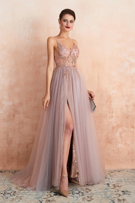 Charlotte | New Arrival Dusty Blue, Pink Spaghetti Strap Prom Dress with Sexy High Split, Cheap Evening Gowns Online_7