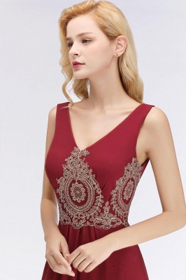 Charming V-Neck Gold Appliques aline Evening Maxi Gown Sleeveless Chiffon Prom Party Dress_3