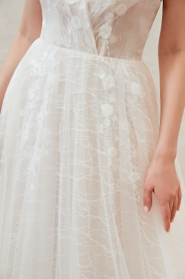 Harlan | Chic Deep V-neck White Tulle Princess Open back Wedding Dress with Court Train_16