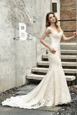 Stunning Sleeveless Fit-and-flare Lace Open Back Summer Beach Wedding Dress_8