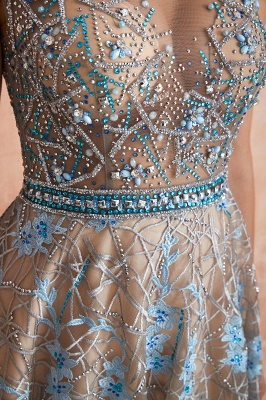 Celandine | Expensive Cap Sleeve See-through Prom Dress with Sky Blue Appliques, Unique Luxury Design Long Evening Dress Online_4