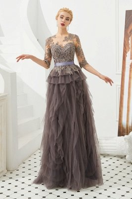 Modest Long Sleeve Gray Mother of the bride Dress with flowing Ruffles | Elegant Illusion neck Evening Dress_7