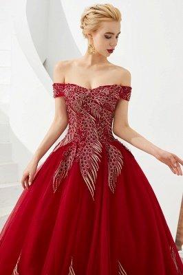 Генри | Элегантное красное плечевое платье принцессы с открытыми плечами и вышивкой с крылышками_6