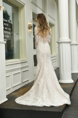 Delicate V-Neck High Split Long Sleeves Lace Wedding Dress With Court Train_3