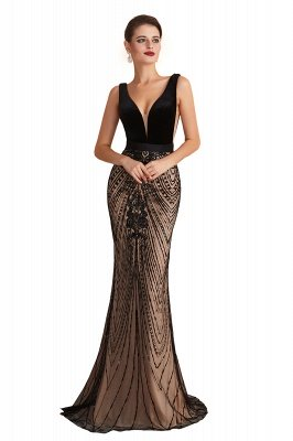 Celeste   Robe de soirée sexy de style compliqué à col en V noir, robe de velours sans dossier en paillettes étincelante pour bal de promo_1