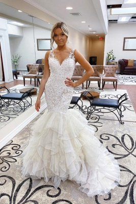Raven | White Sleeveless V-neck Wedding Dress with multi-layers train