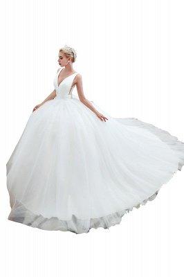 مثير الخامس الرقبة بلا أكمام فستان زفاف الأميرة الربيع | فساتين زفاف أنيقة منخفضة الظهر مع حزام_13