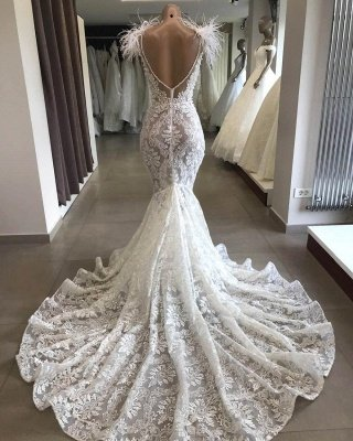 Luxe blanc creux chérie dos ouvert dentelle longue robe de mariée avec décolleté en fourrure_3