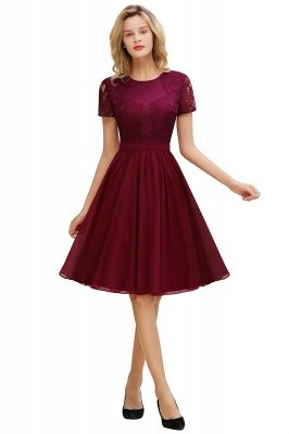 Short Sleeves Burgundy Modest Homecoming Dress, Dusty Pink, Dark Green