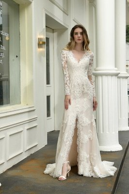 Delicate V-Neck High Split Long Sleeves Lace Wedding Dress With Court Train_6