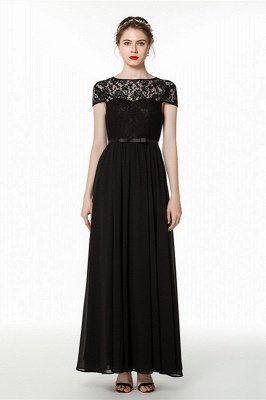 Coccecline | Black Lace Cap Sleeves Lace Bridesmaid Dress with Ribbon