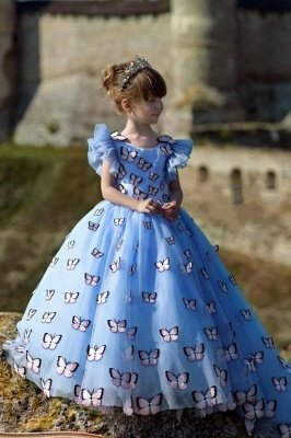 Chic Jewel Cap Flounce Sleeves Puffy Flower Girl Dresses with Handmade Butterflies | Long Girls Pageant Dress