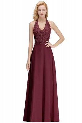 Sexy Halter Backless, Burgundy, Navy, Pink, Silver Sleeveless Princess Formal Dress_3