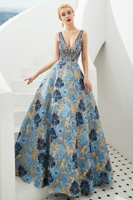 Heather | Luxury Floral Sexy Deep V-neck Princess Prom Dress with Deep V-back_4