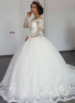 Elegant A-line Princess Lace Off The Shoulder Wedding Dresses| Floor Length Long Sleeves Bridal Gowns