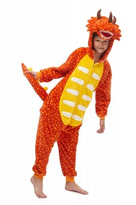 New Kids Kigurumi Onesie Orange Triceratops Pajamas For Children Triceratops Jumspuit