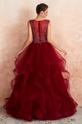 Cherise | Wine Red V-neck Sparkle Prom Dress with Muti-layers, Discount Burgundy Sleevleless Ball Gown for Online Sale_3