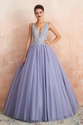 Cerelia   Elegant Princess V-neck Ball gown Lavender Prom Dress with Appliques, Deep V-neck Evening Gowns with Pleats_7