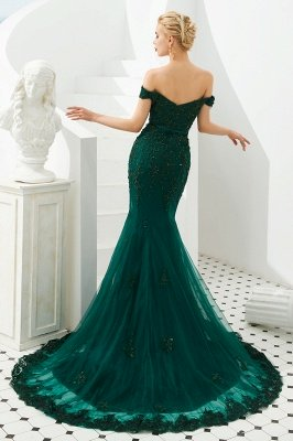 Harvey | Emerald green Mermaid Tulle Prom dress with Beaded Lace Appliques_6