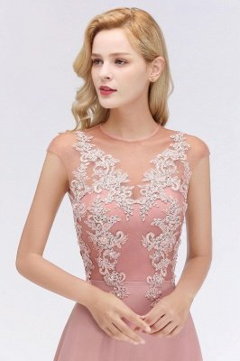 Cap Sleeve Lace Appliques Beads Slim A-line Evening Prom Dress for Women_9