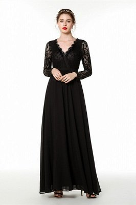 Phebe | Black Long Sleeves V-neck Long Bridesmaid Dresses for fall wedding_2