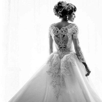 Mermaid Wedding Dresses with Trendy Overskirt | Beads Lace Appliques Long Sleeve Bridal Gowns_5