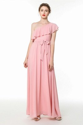 Candy | Pink One-shoulder Flounce Bridesmaid dress with self-tie bow_3