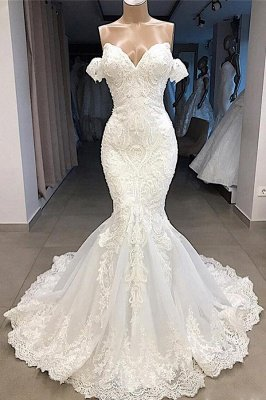 Amazing Sweetheart Mermaid White Wedding Dress   Off the shoulder Lace Bridal Gowns Online