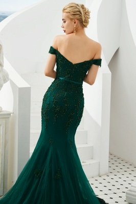 Harvey | Emerald green Mermaid Tulle Prom dress with Beaded Lace Appliques_7