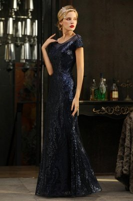 Helen| Long Sequined Cap sleeves Scoop neck Formal dress for Prom_6