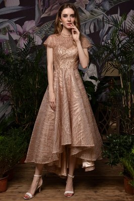 Ardolf | High neck Short Sleeve Champange Sequined High Low Prom Dress_9