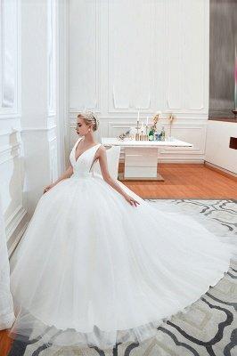 مثير الخامس الرقبة بلا أكمام فستان زفاف الأميرة الربيع | فساتين زفاف أنيقة منخفضة الظهر مع حزام_6