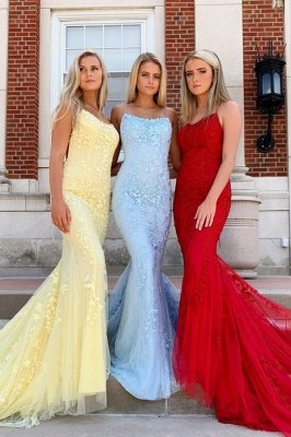 Rae | Classic Halter Red Backless Long Prom Dress, Sexy Sky Blue Evening Gowns