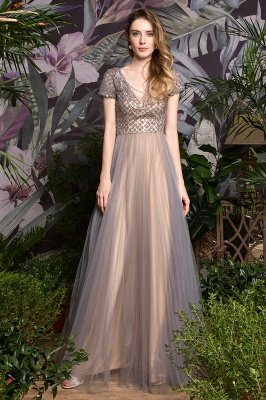 Aria | Stunning Short Sleeves Squared Sequined Tulle Luxury Prom Dress_7