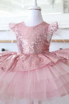 Lovely Sequins Flower Girl Dresses with Bowknot | Hi-Lo Cap Sleeves Little Girls Pageant Dresses