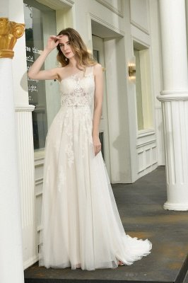 Summer A-Line One Shoulder Tulle Cheap Lace Ivory Wedding Dress Online