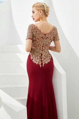 Hilary | Custom Made Short sleeves Burgundy Mermaid Prom Dress with Gold Lace Appliques_9