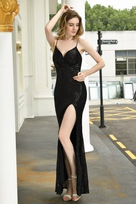 Ardell | Sexy Black Emerald Sequined High Slit Prom Dress Online_22