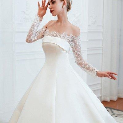 فستان زفاف الأميرة من الساتان بأكمام طويلة من الدانتيل الرومانسي | فساتين زفاف الأميرة مع قطار الكاتدرائية_18
