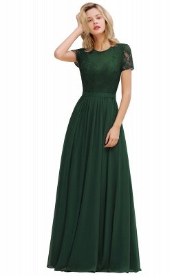 Abraham | Burgundy Short Sleeve Lace Simple Chiffon Formal Dress, Pink, Dark Green_3