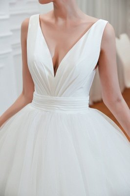 مثير الخامس الرقبة بلا أكمام فستان زفاف الأميرة الربيع | فساتين زفاف أنيقة منخفضة الظهر مع حزام_5