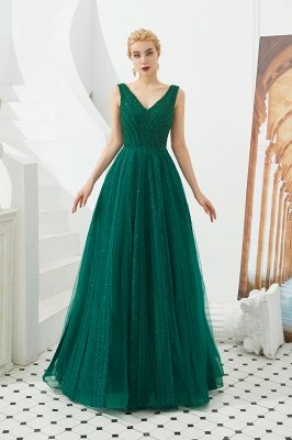 Harriet | Shining Emerald green Sexy V-neck Princess Low back Prom Dress with Pleats_13