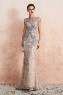 Chloe | Luxury Dark Navy Cap Sleeve Key hole Sparkle Prom Dress Online, Beautiful Champange Dresses for Evening Party_5